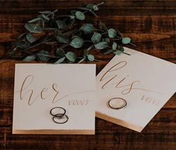 Gold calligraphy bride and groom wedding vow exchange cards, vow cards, wedding vow cards, wedding vow books, his and hers, his and her vows